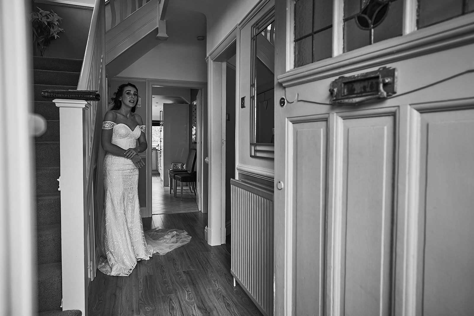 bride waits to leave her house in Crosby to get married