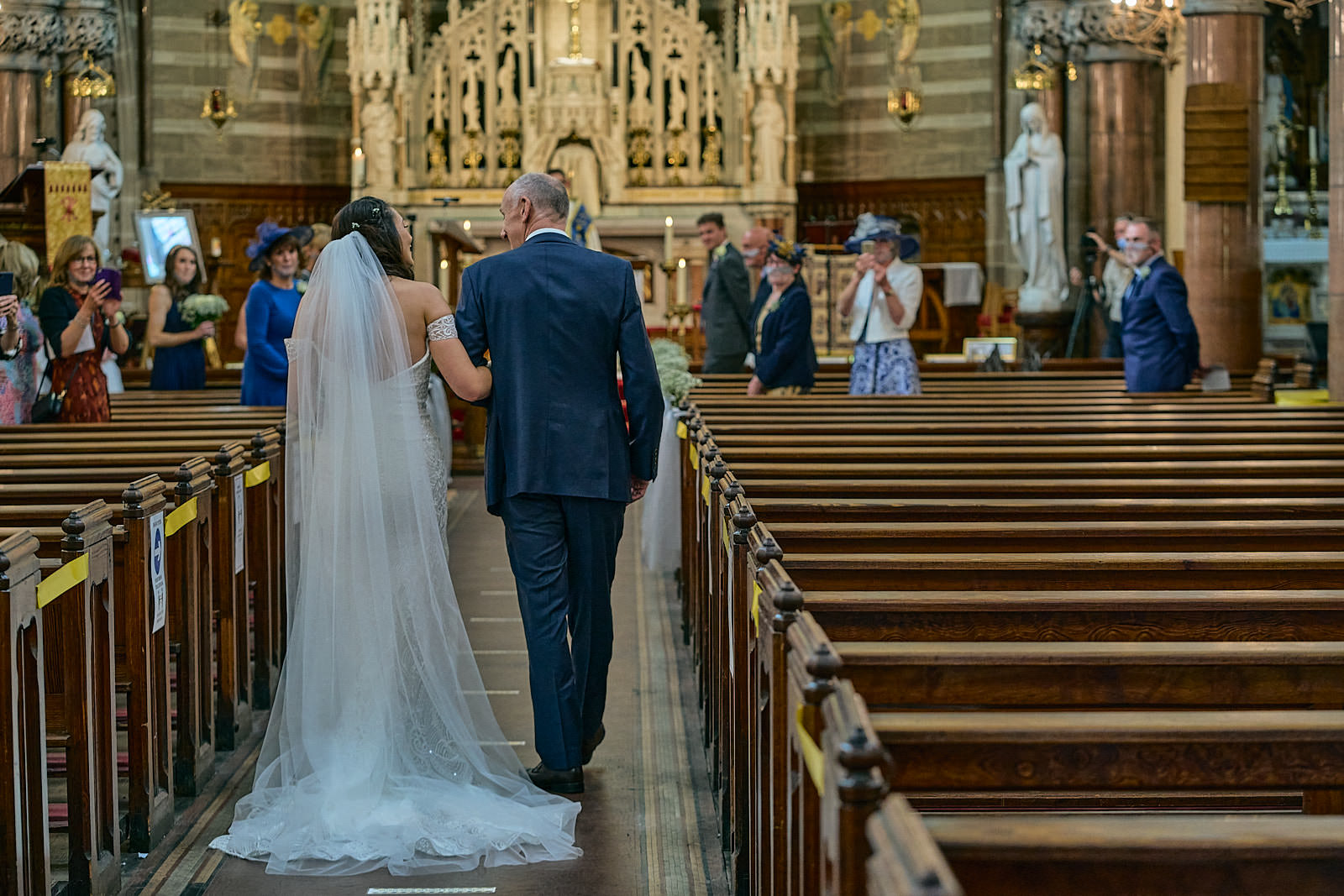 bride walks down aisle with dad in seaforth