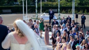 bride walking down the steps at The Isla Gladstone