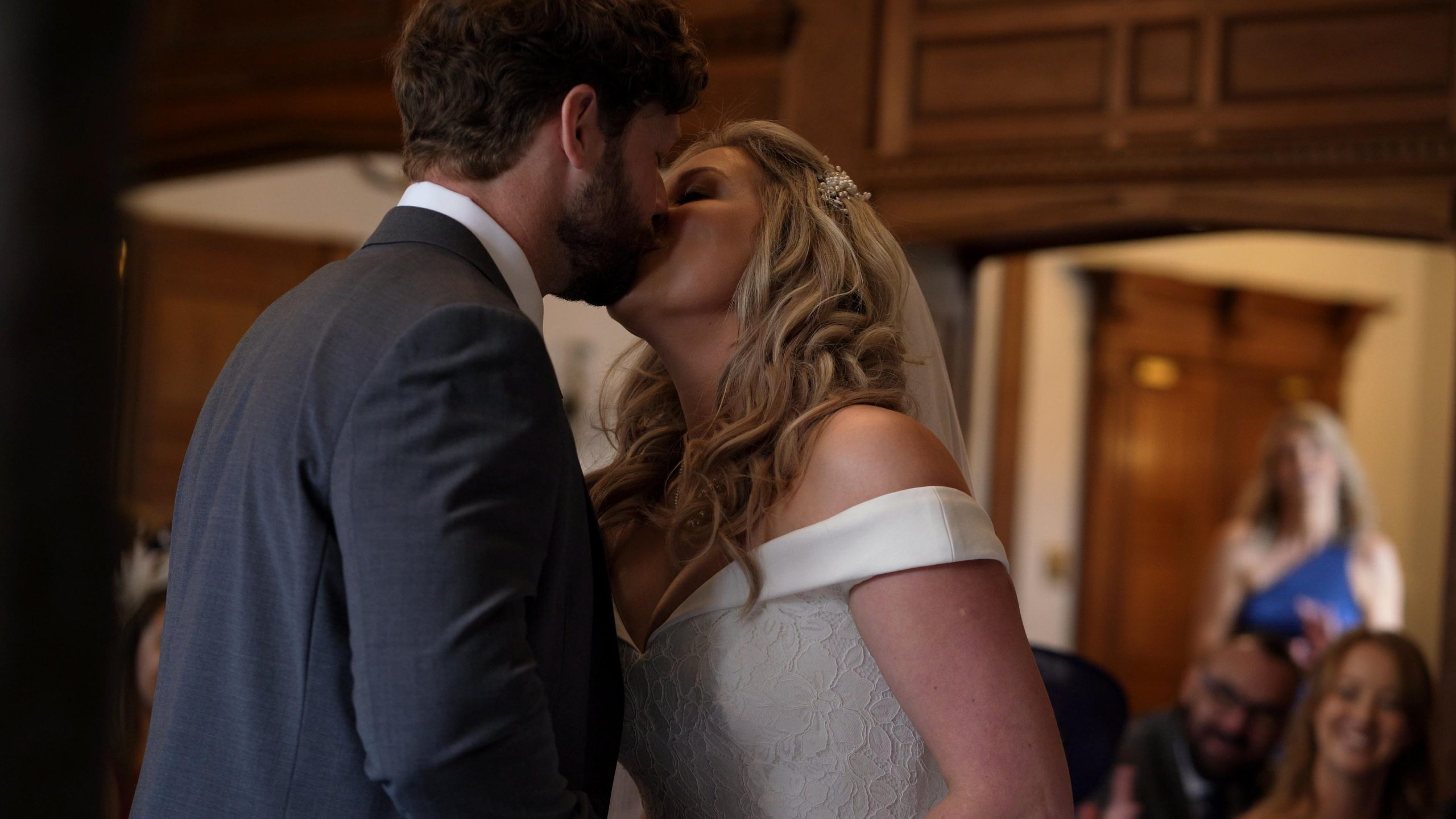 couple kiss during inglewood manor ceremony