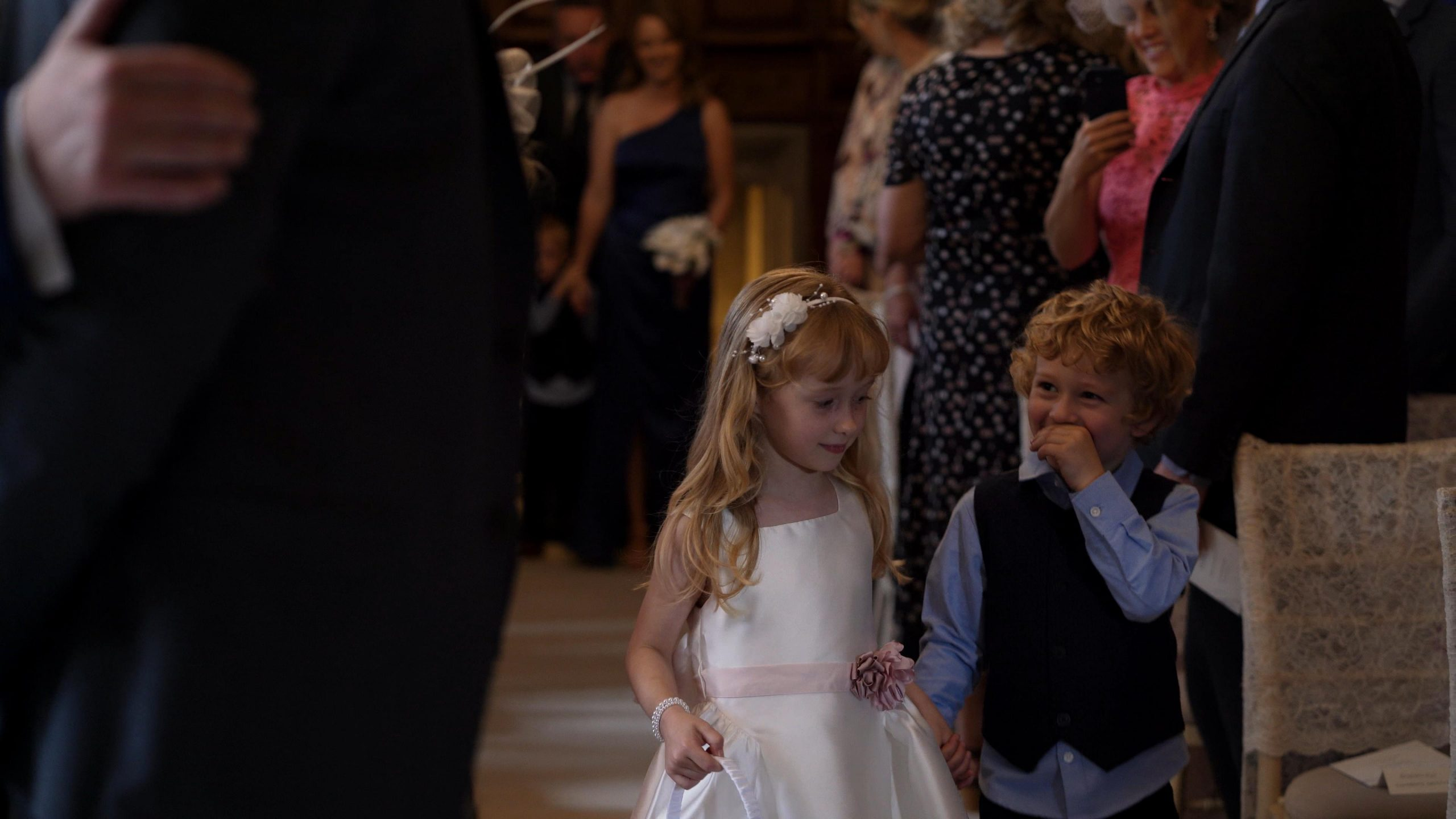 children walk down the aisle at inglewood manor wedding