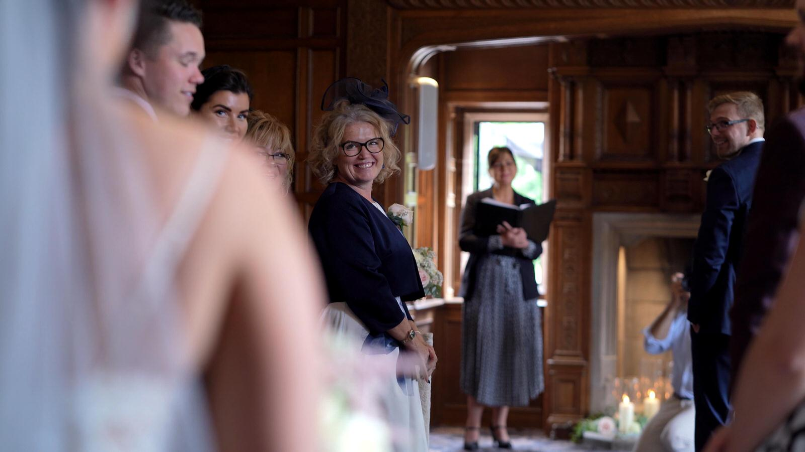 guests first look of bride during ceremony at Inglewood