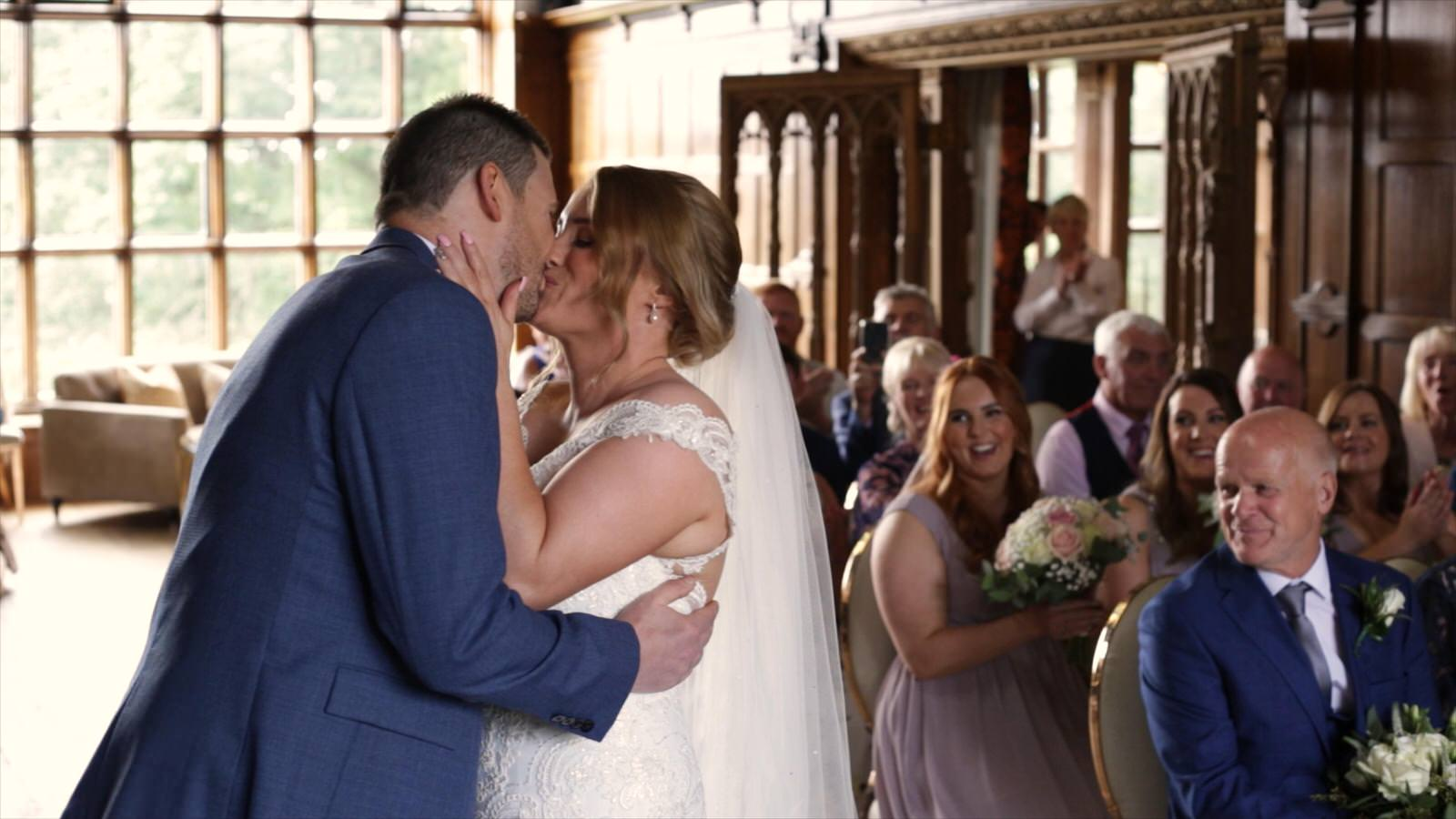 first kiss during wedding ceremony at Hillbark hotel