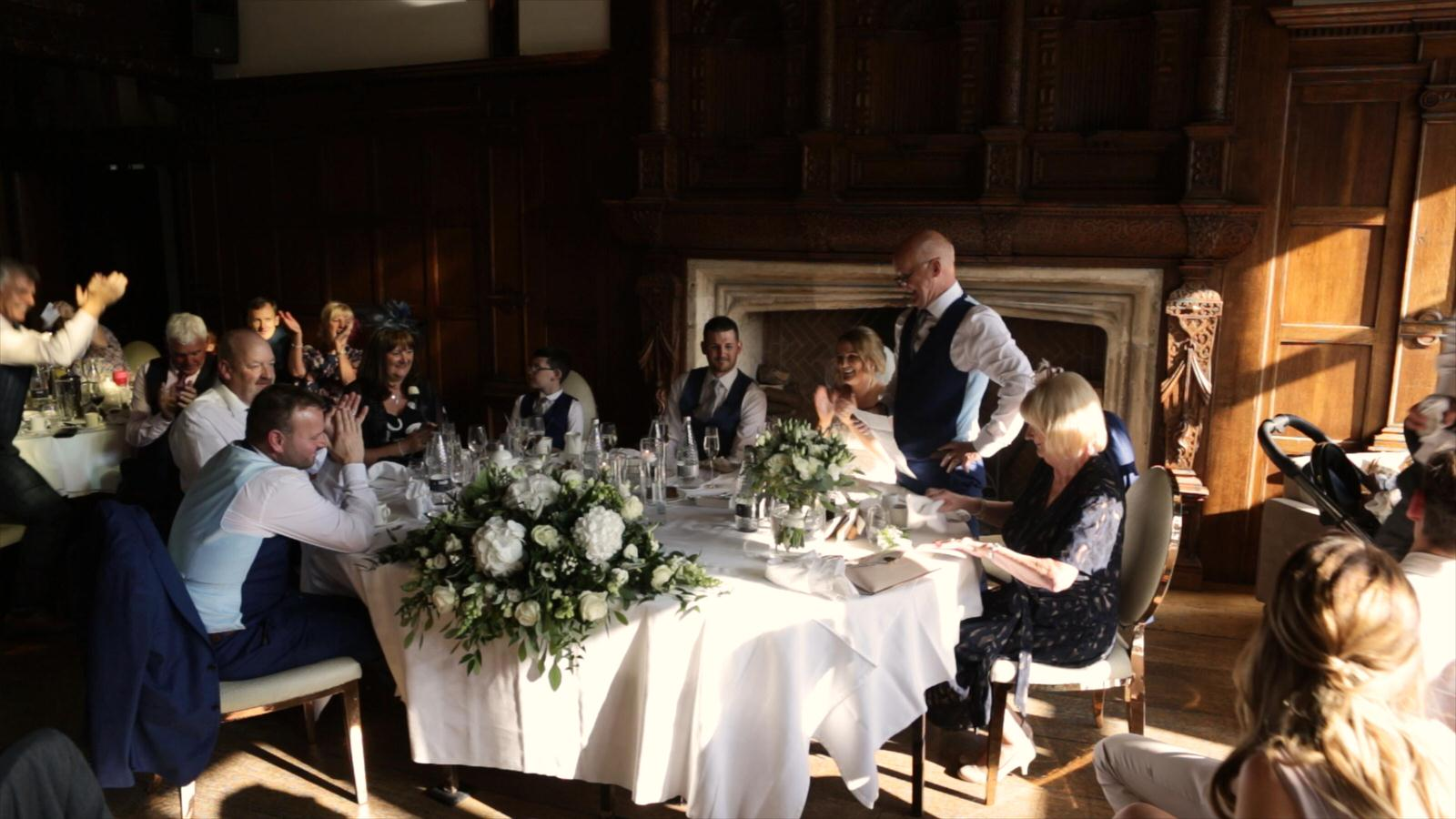 father of the bride stands for speech at Hillbark