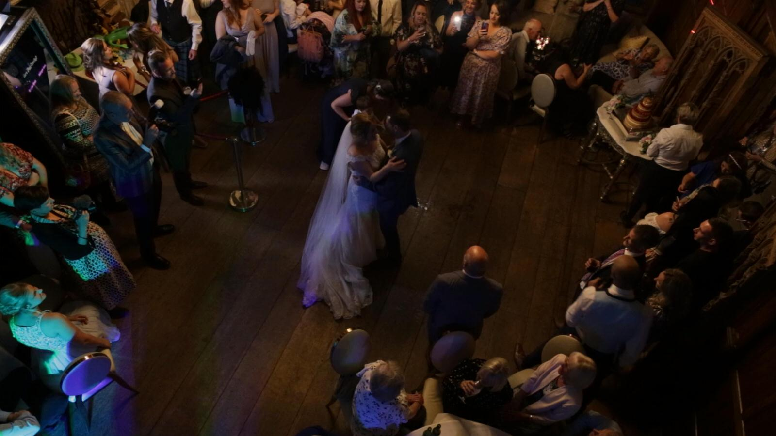 video shot of first dance from balcony at hillbark
